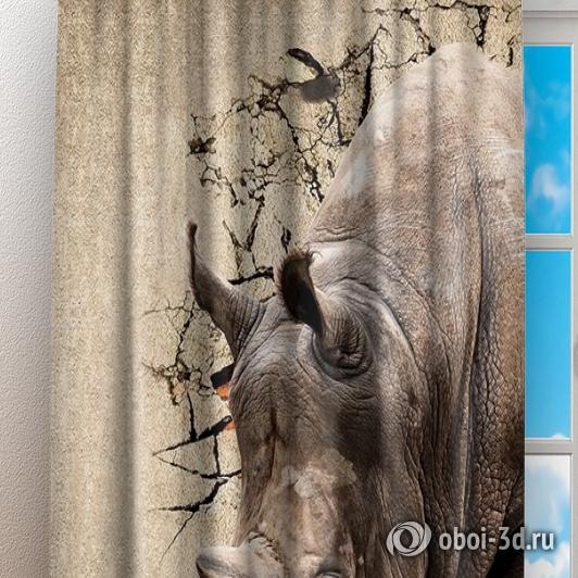 Фотошторы «Носорог сквозь стену» вид 3