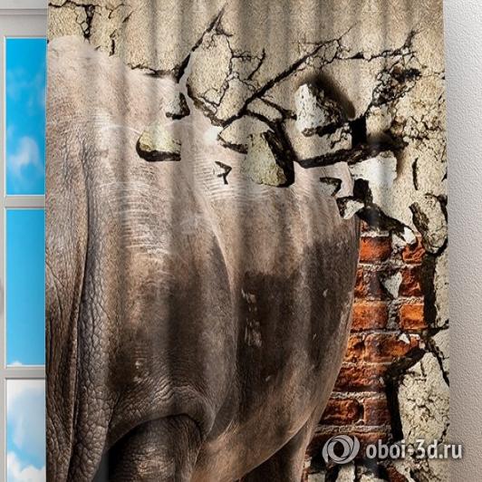 Фотошторы «Носорог сквозь стену» вид 2