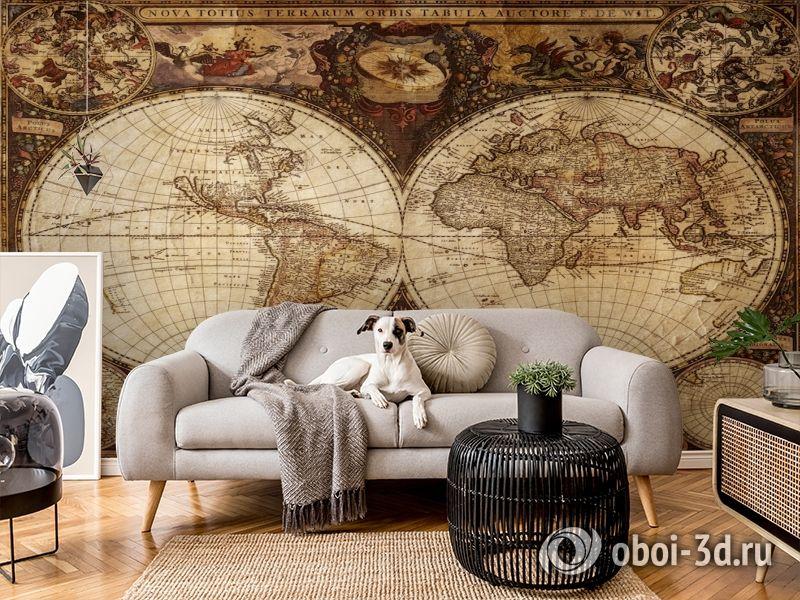 3D Фотообои  «Карта мира для кабинета»  вид 6