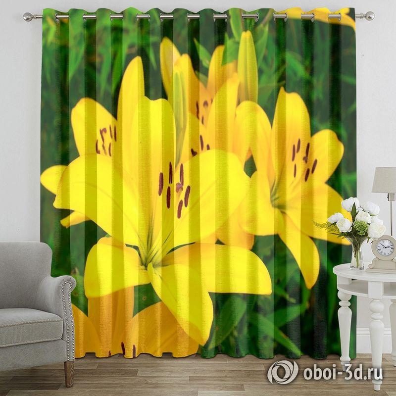 Фотошторы «Яркие желтые лилии » вид 7