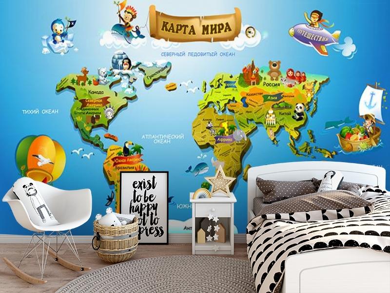 3D Фотообои «Карта континентов для детей» вид 5