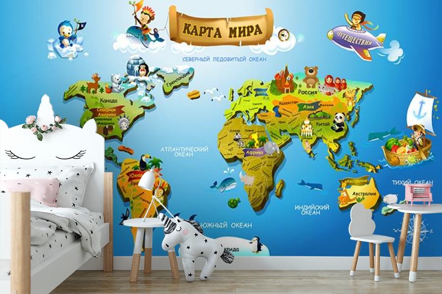 3D Фотообои «Карта континентов для детей» вид 4