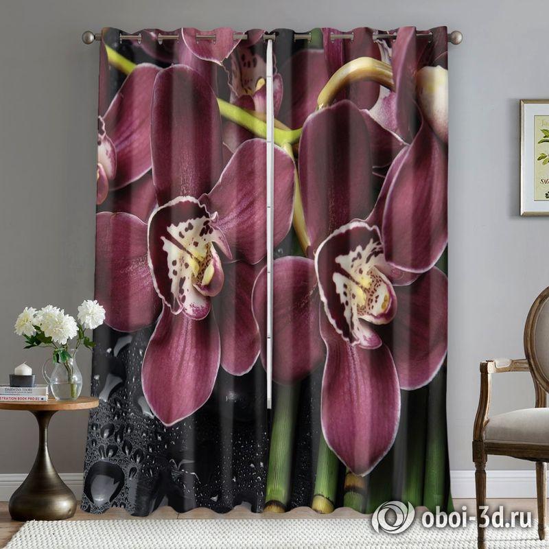 Фотошторы «Орхидеи и капли воды» вид 5