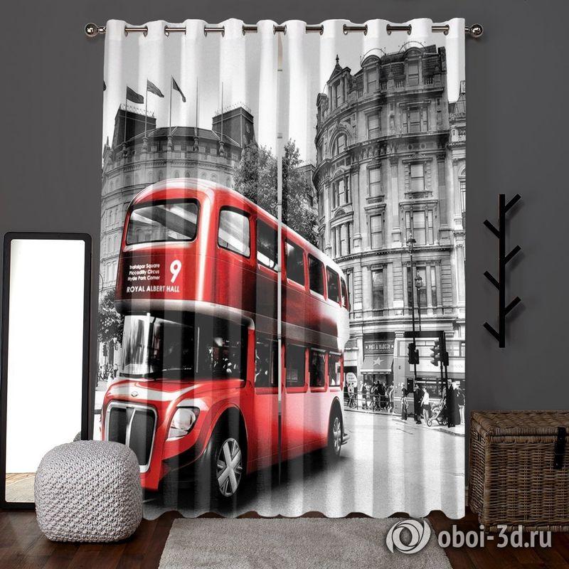 Фотошторы «Красный автобус» вид 6