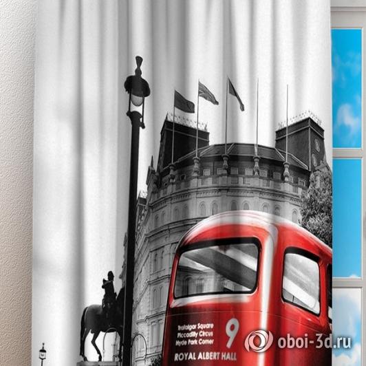 Фотошторы «Красный автобус» вид 3