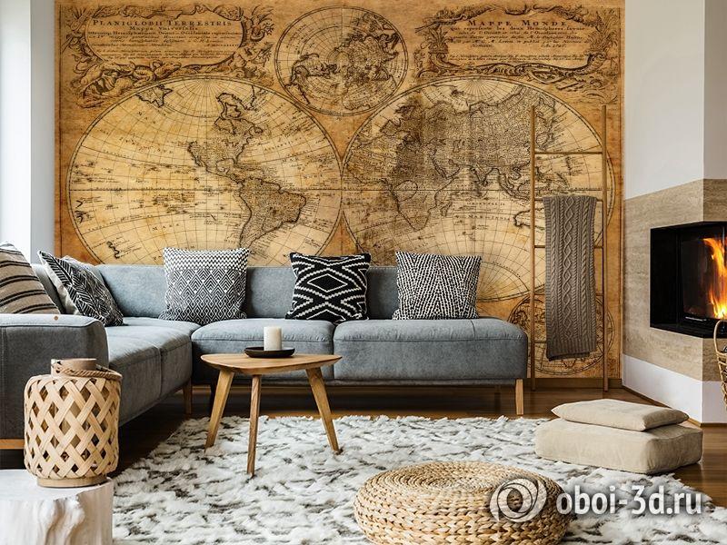 3D Фотообои  «Старая карта мира»  вид 7