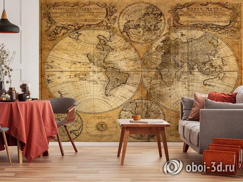 3D Фотообои  «Старая карта мира»  вид 5