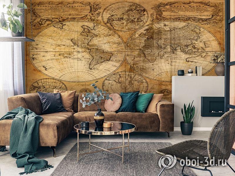 3D Фотообои  «Старая карта мира»  вид 3