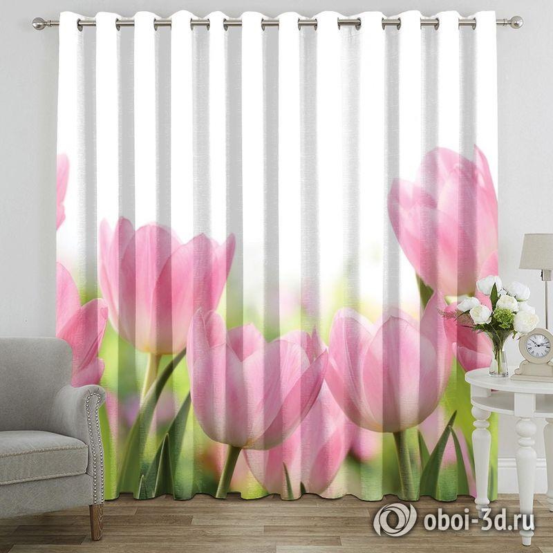 Фотошторы «Нежные розовые тюльпаны» вид 7