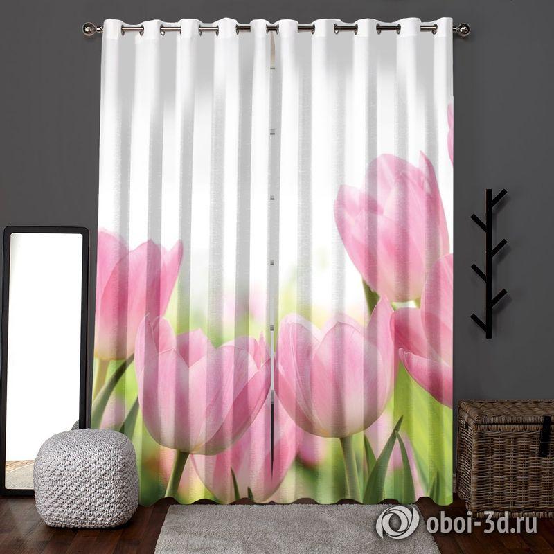 Фотошторы «Нежные розовые тюльпаны» вид 6