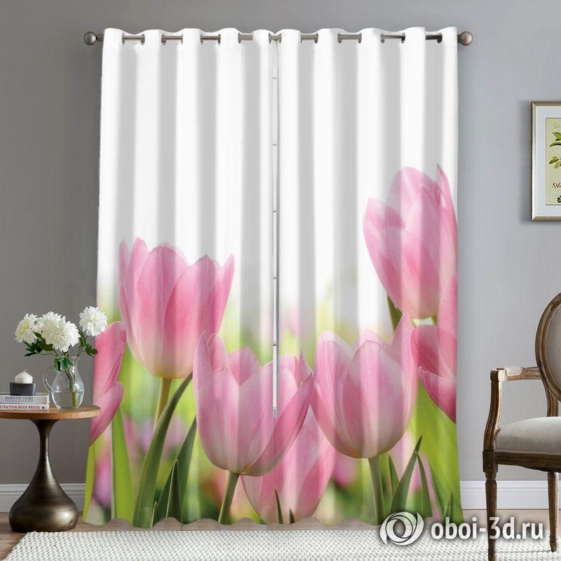 Фотошторы «Нежные розовые тюльпаны» вид 5