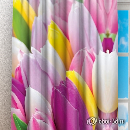 Фотошторы «Разнообразие тюльпанов» вид 3