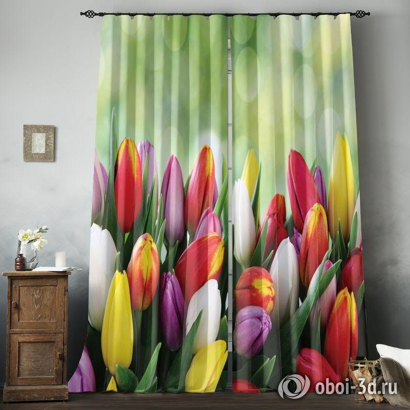 Фотошторы «Разноцветные тюльпаны» вид 8