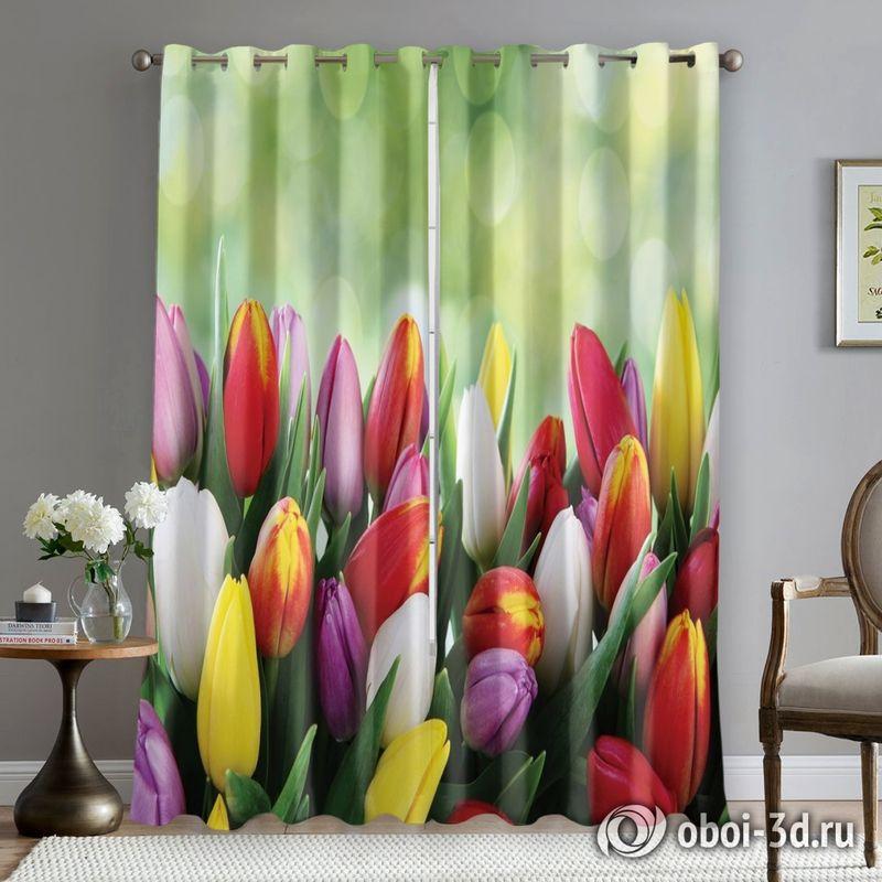 Фотошторы «Разноцветные тюльпаны» вид 5
