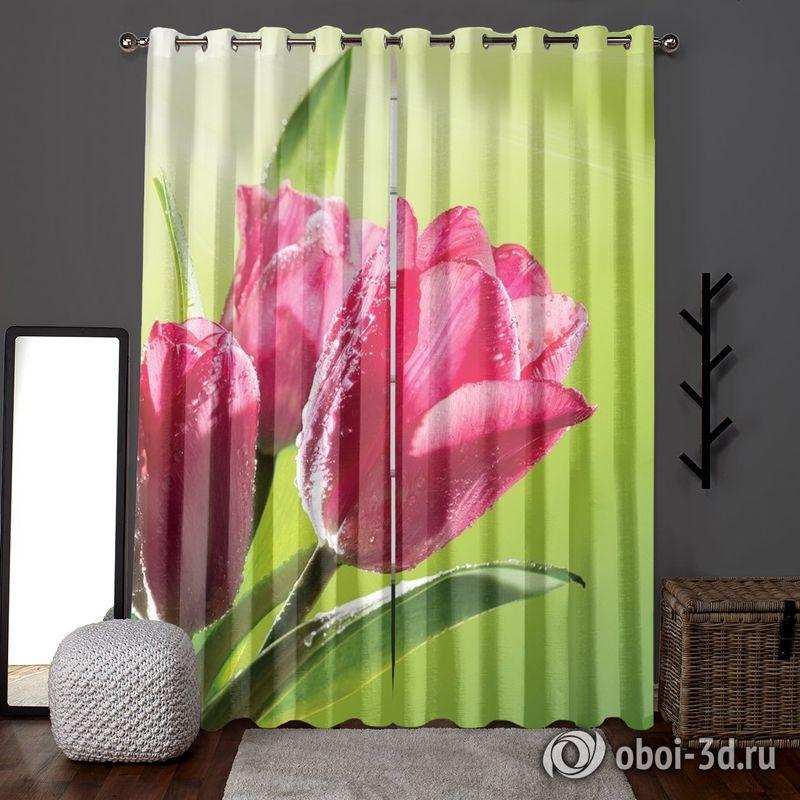 Фотошторы «Тюльпаны на зеленом фоне» вид 6