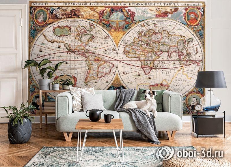 3D Фотообои  «Карта мира панно»  вид 8