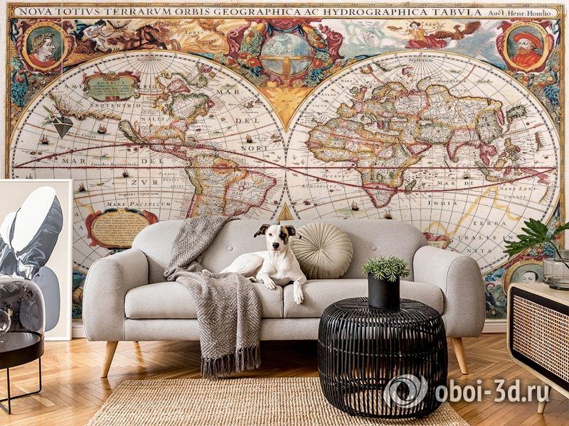 3D Фотообои  «Карта мира панно»  вид 6
