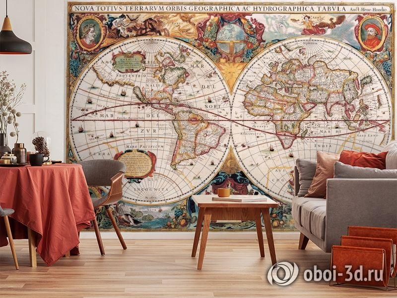 3D Фотообои  «Карта мира панно»  вид 5