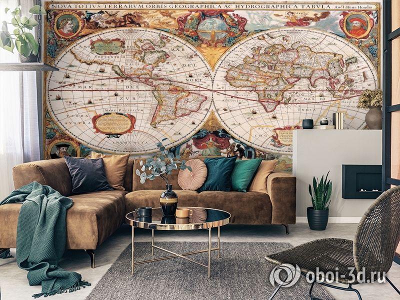 3D Фотообои  «Карта мира панно»  вид 3