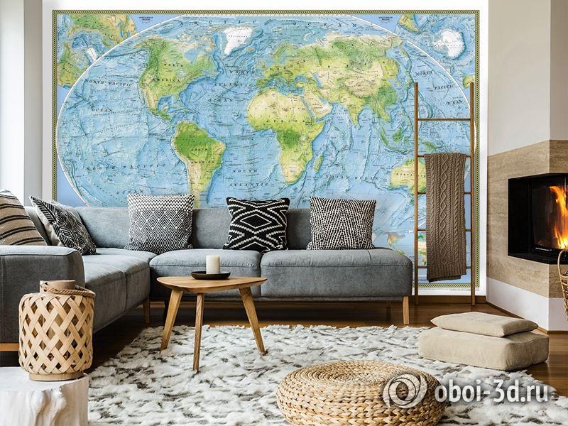 3D Фотообои  «Географическая карта мира»  вид 7