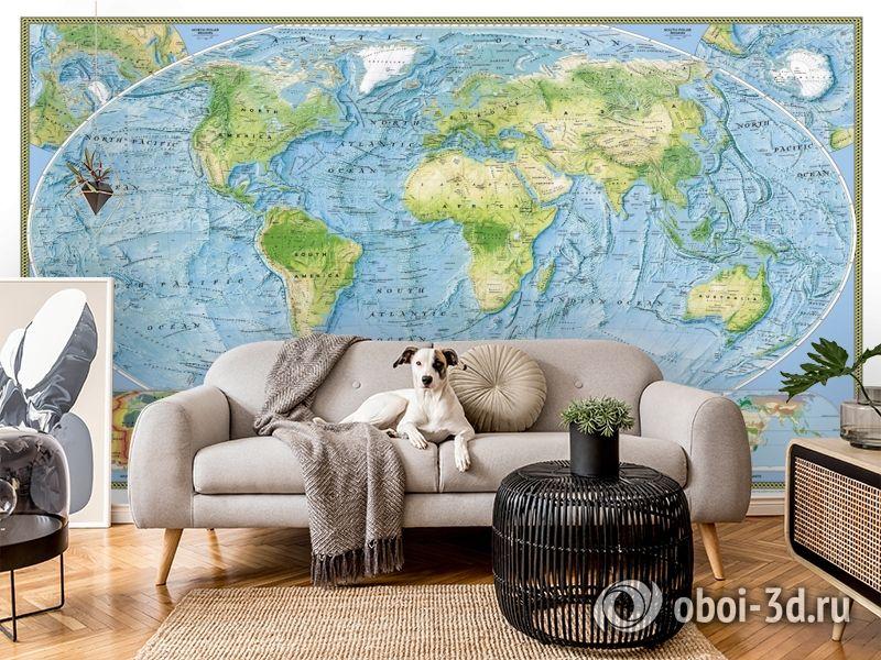 3D Фотообои  «Географическая карта мира»  вид 6