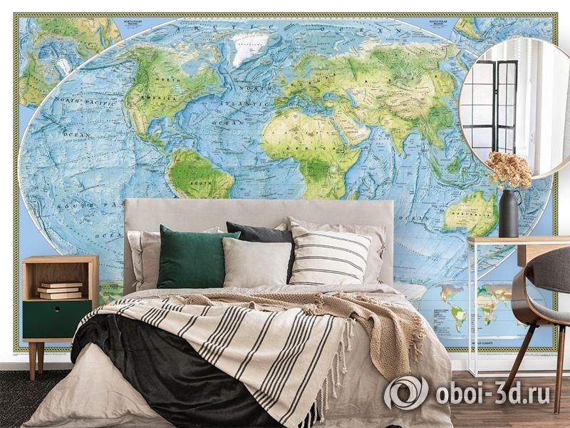 3D Фотообои  «Географическая карта мира»  вид 4