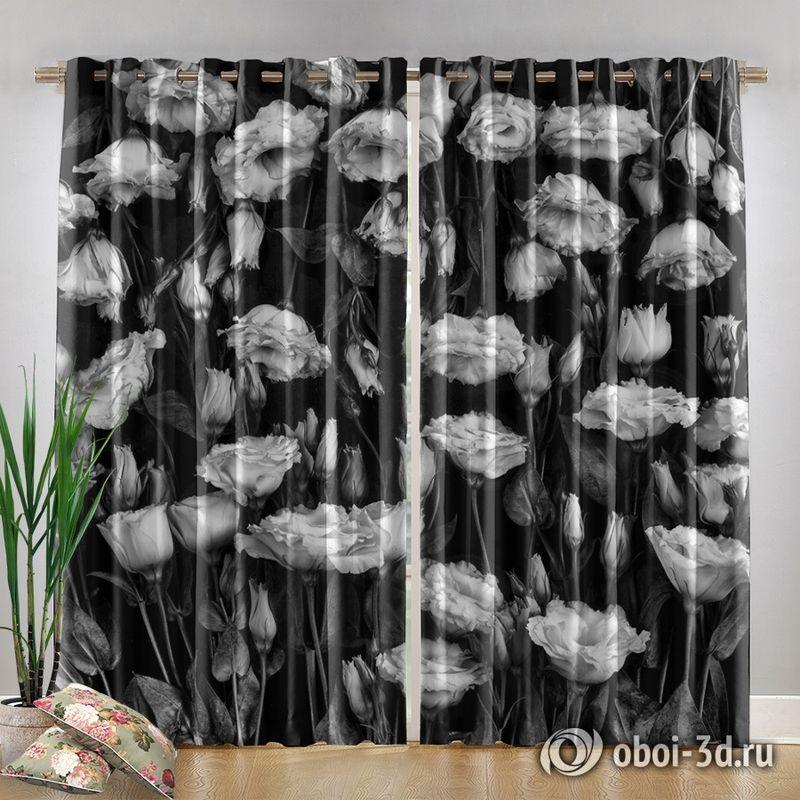 Фотошторы «Цветы на темной ткани» вид 4