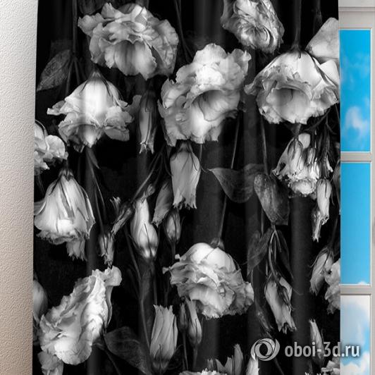 Фотошторы «Цветы на темной ткани» вид 3