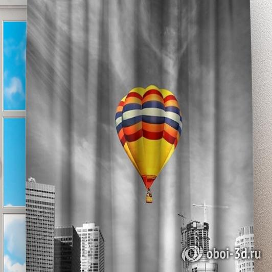 Фотошторы «Воздушный шар в мегаполисе» вид 2