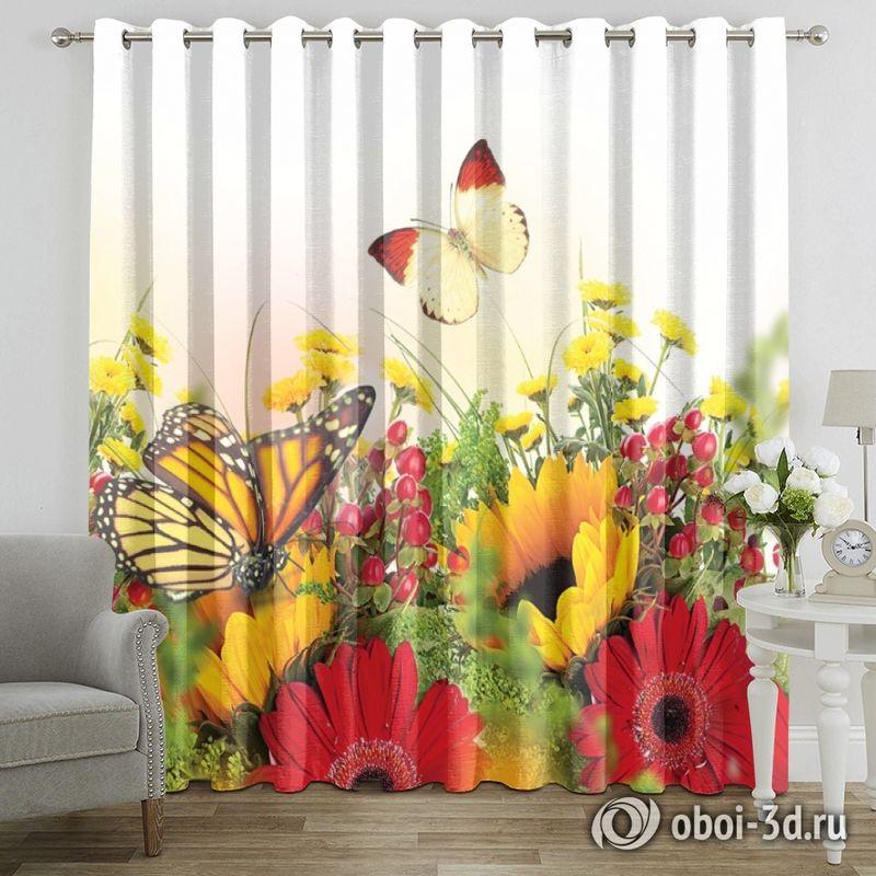 Фотошторы «Бабочки над яркими цветами» вид 7