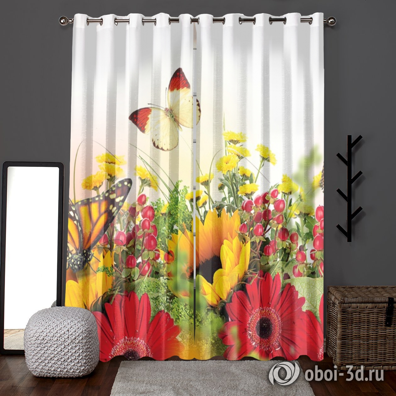 Фотошторы «Бабочки над яркими цветами» вид 6