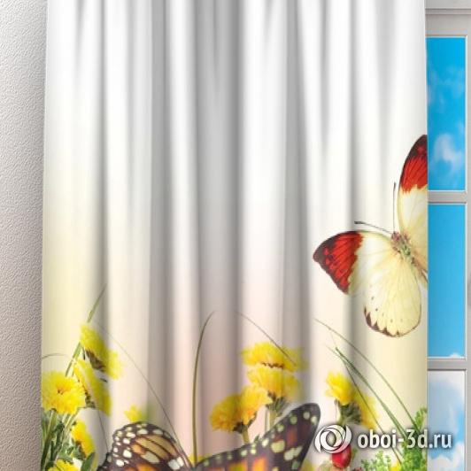 Фотошторы «Бабочки над яркими цветами» вид 3