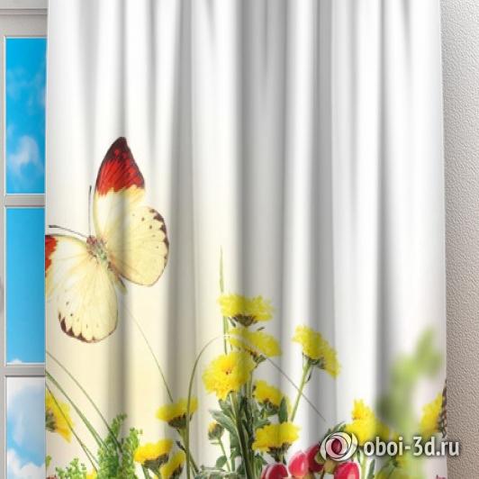 Фотошторы «Бабочки над яркими цветами» вид 2