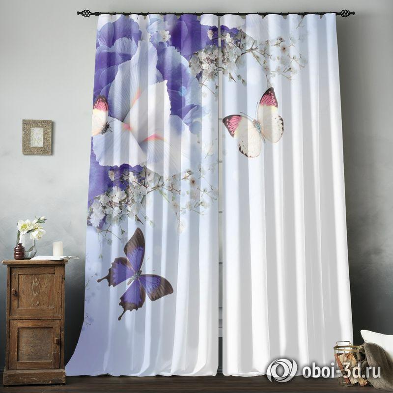 Фотошторы «Бабочки под нежными цветами» вид 8