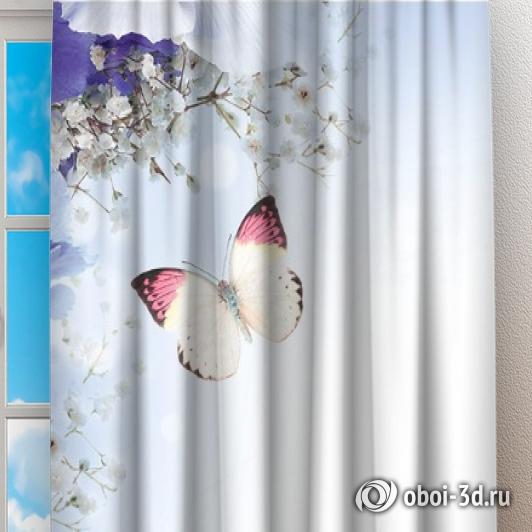 Фотошторы «Бабочки под нежными цветами» вид 2