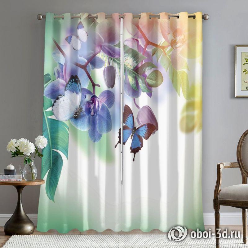 Фотошторы «Бабочки под орхидеей» вид 5