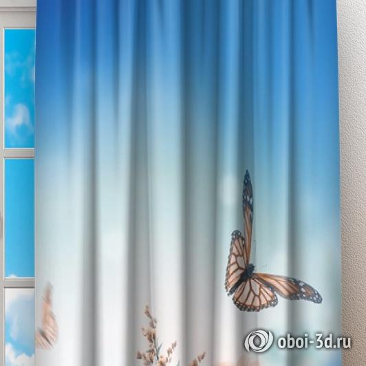 Фотошторы «Синие бабочки» вид 2