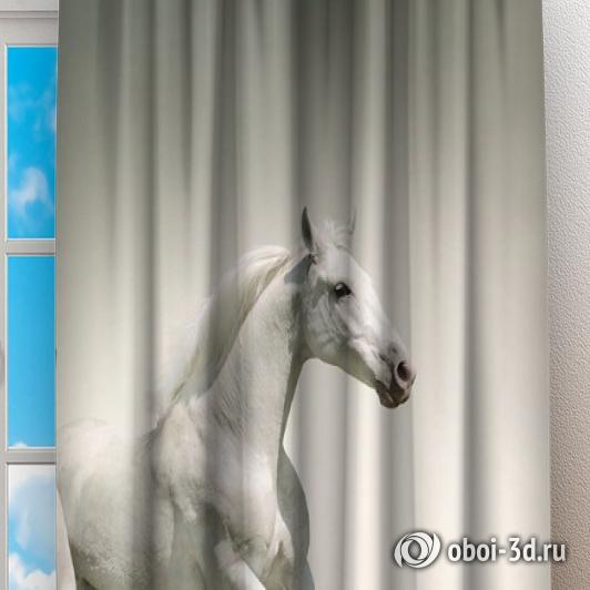 Фотошторы «Белые лошади на сером фоне» вид 2
