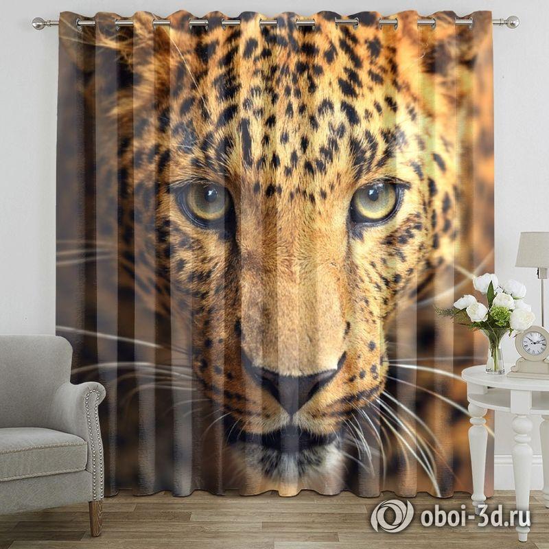 Фотошторы «Леопард портрет» вид 7