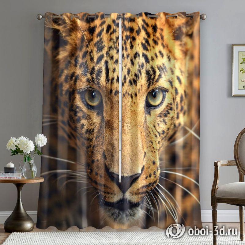 Фотошторы «Леопард портрет» вид 5