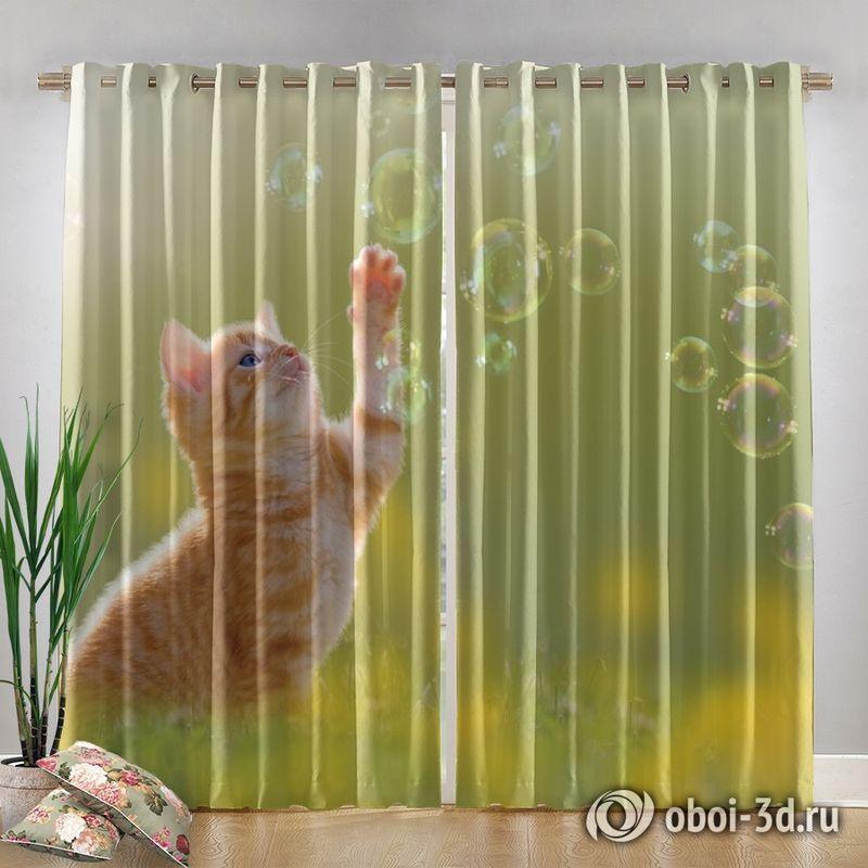 Фотошторы «Рыжий кот с мыльными пузырями» вид 4