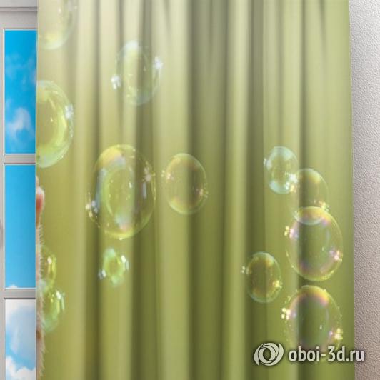 Фотошторы «Рыжий кот с мыльными пузырями» вид 2
