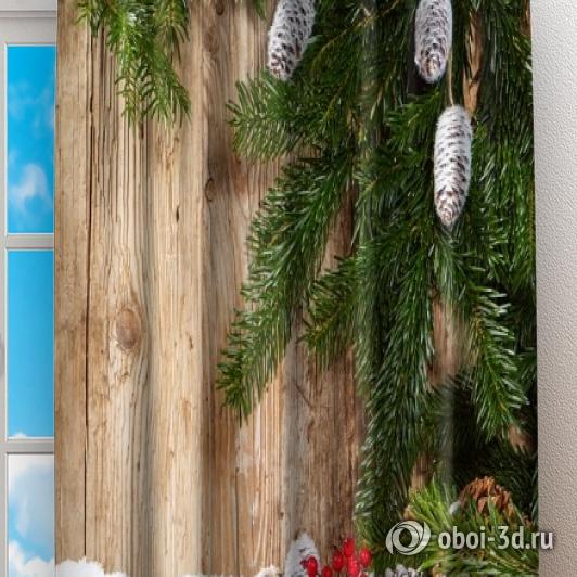 Фотошторы «Еловые ветви на древесном фоне» вид 2