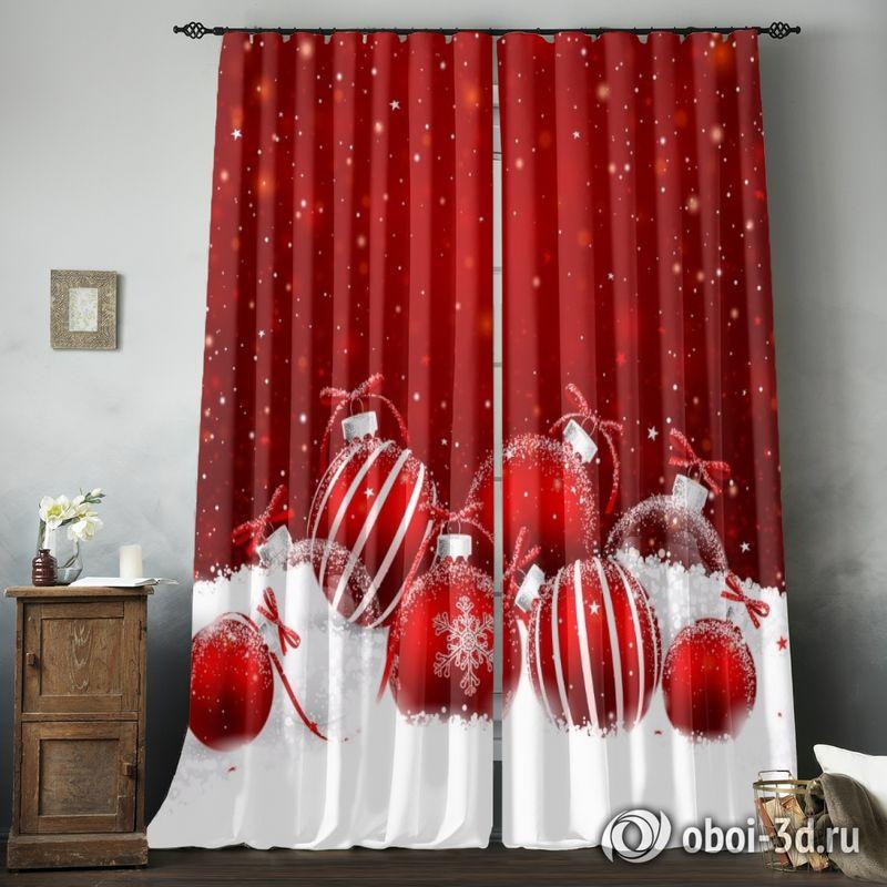 Фотошторы «Красные новогодние шарики» вид 8