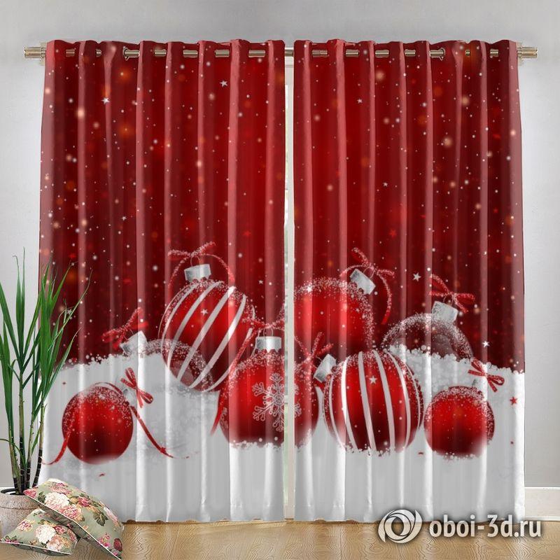 Фотошторы «Красные новогодние шарики» вид 4