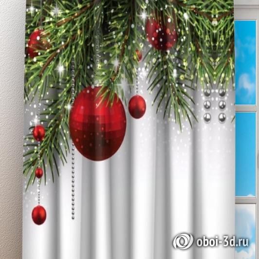 Фотошторы «Новогодний фон с красными игрушками» вид 3