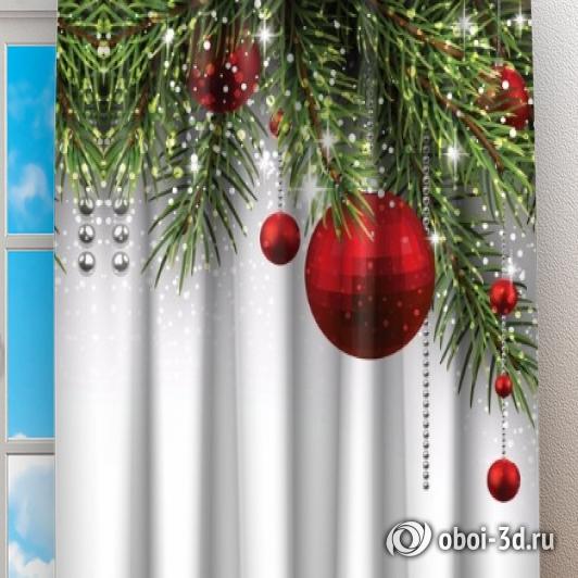 Фотошторы «Новогодний фон с красными игрушками» вид 2