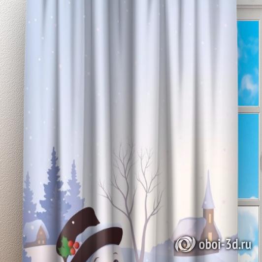 Фотошторы «Снеговичок» вид 3