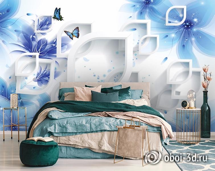 3D Фотообои «Синие цветы с бабочками» вид 6