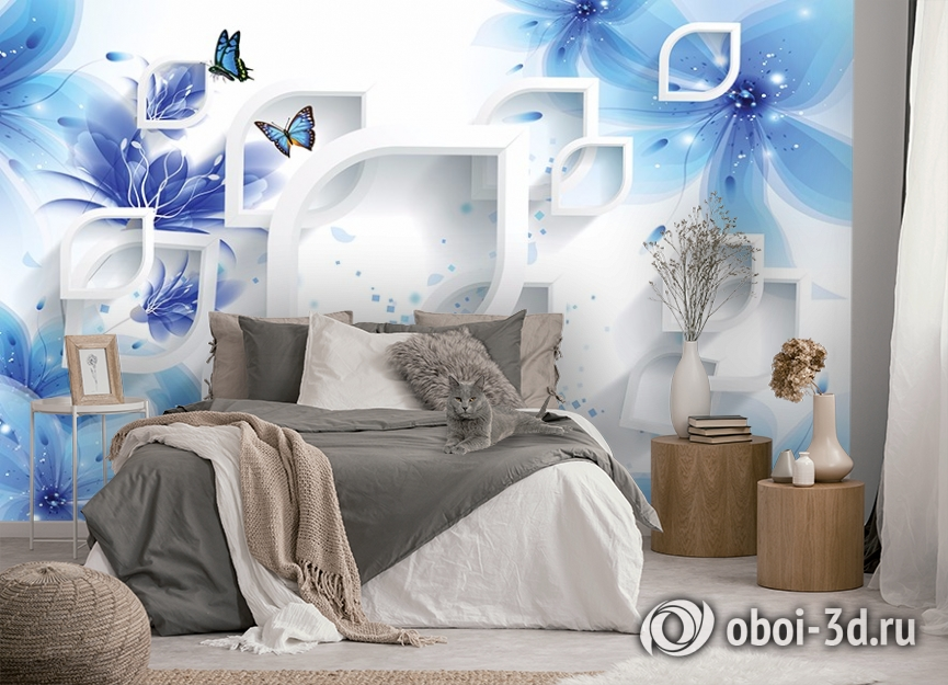 3D Фотообои «Синие цветы с бабочками» вид 5
